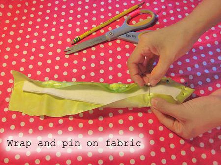 Wrap and pin on fabric