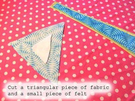 Cut triangular fabric:felt